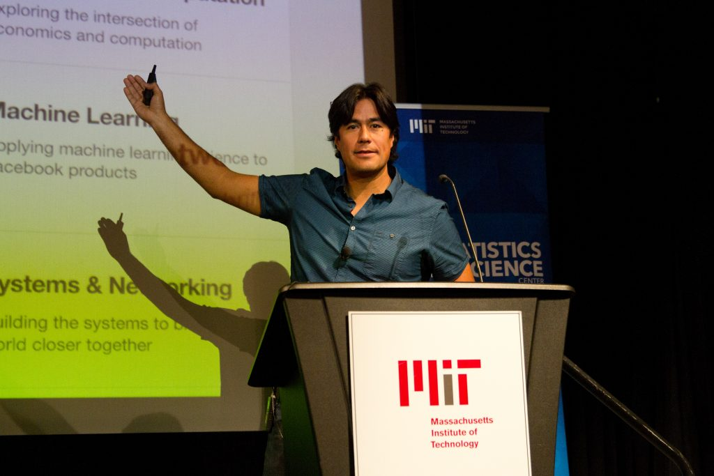 MIT alum Carlos Gomez Uribe, an internet tech product and algorithms leader at Facebook, presents during the industry session at the 2018 MIT Statistics and Data Science Conference.
