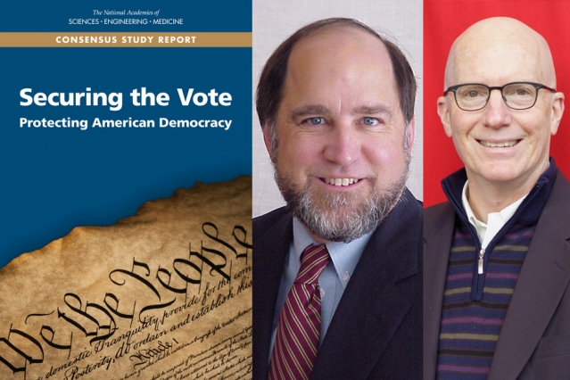With the U.S. midterm elections approaching, a new report on keeping voting systems safe from hackers was co-authored by MIT professors Ronald L. Rivest (left) and Charles Stewart III.