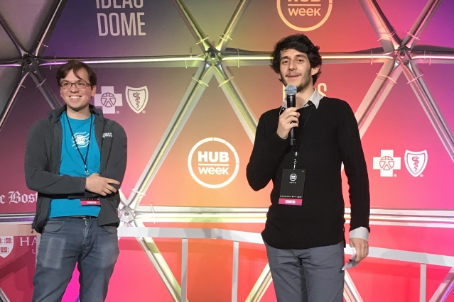 Nathaniel Fruchter (left) and Donovan Guttieres, both master's students with the MIT Technology and Policy Program (TPP), were two of the IDSS student leaders of the HUBweek Policy Hackathon.