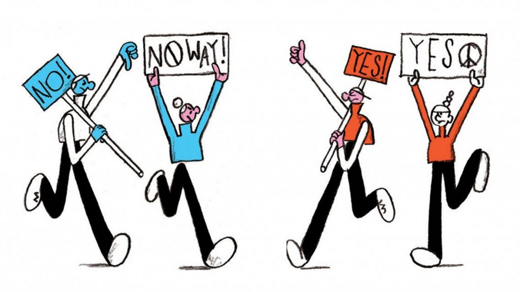 Illustration by Daniel Savage of protesters holding signs that say YES and NO WAY