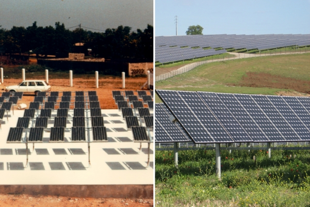 Photos show a solar installation from 1988 (left) and a present-day version. Though the basic underlying technology is the same, a variety of factors have contributed to a hundredfold decline in costs. Now, researchers have identified the relative importance of these different factors.
