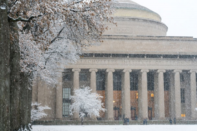 Snow falling on MIT campus and the dome