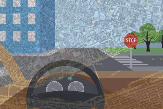 To bring more human-like reasoning to autonomous vehicle navigation, MIT researchers have created a system that enables driverless cars to check a simple map and use visual data to follow routes in new, complex environments. Image: Chelsea Turner