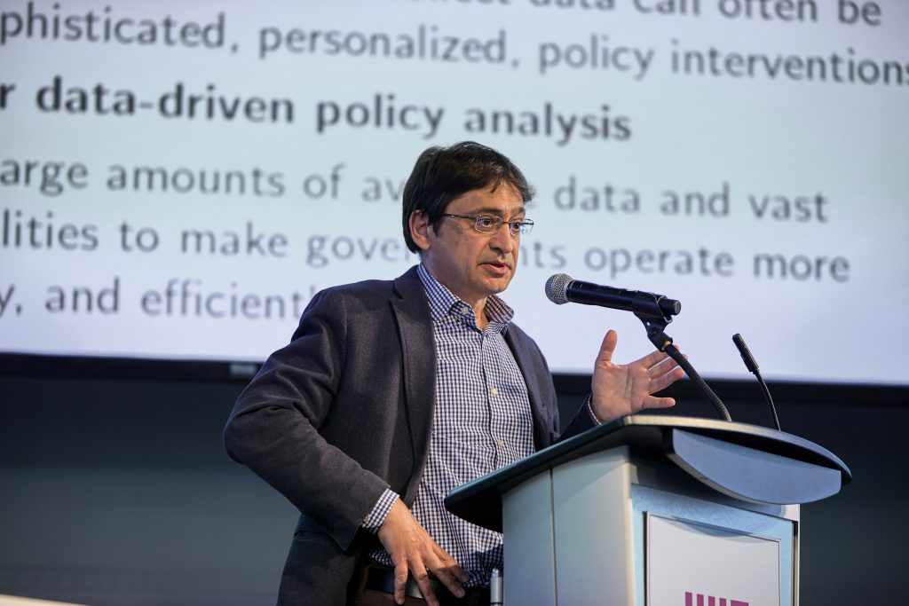 Alberto Abadie presents at SDSCon 2019 on how data science is driving changes in social science research and policy making. Abadie is a professor of economics at MIT and associate director of the Institute for Data, Systems, and Society. Image: Dana J. Quigley photography