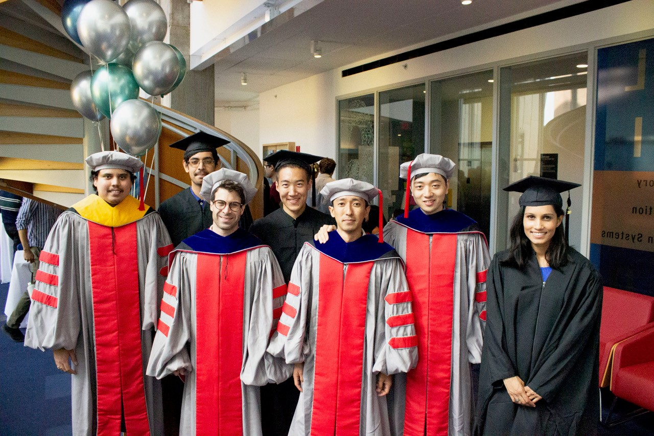 LIDS grads Anuran Makur, Vishrant Tripathi, Austin Collins, Xinzhu (Roger) Fu, Anurag Rai, Yuhao Wang, and Uma Roy.