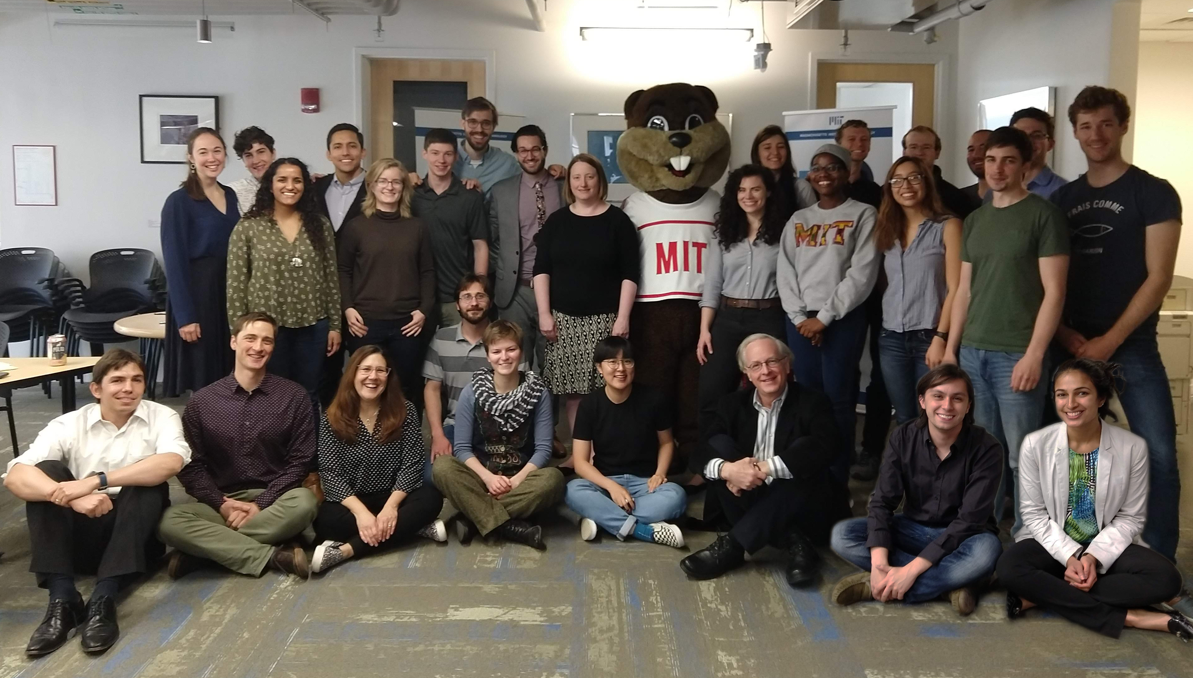 Tim the Beaver with TPP Director and IDSS/EAPS professor Noelle Selin, TPP staff, and the TPP class of 2019