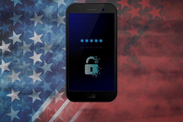 locked smart phone with American flag background