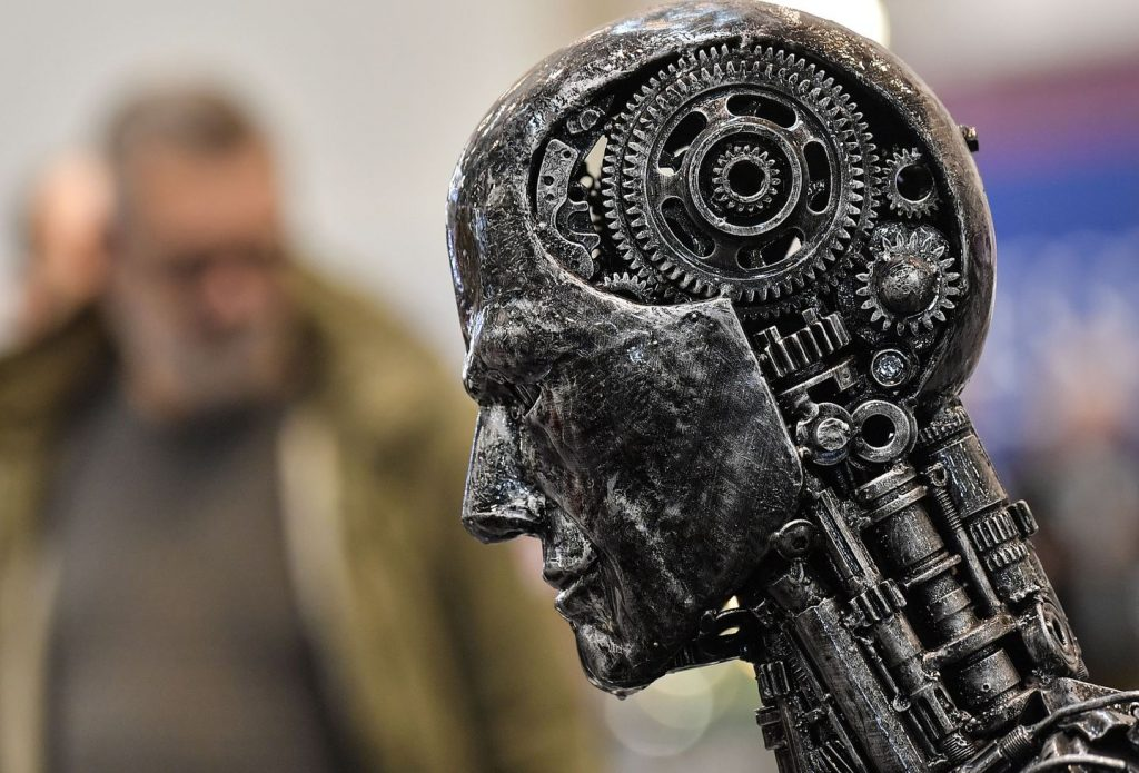 A metal head made of motor parts symbolizes artificial intelligence at the 2019 Essen Motor Show.MARTIN MEISSNER/ASSOCIATED PRESS