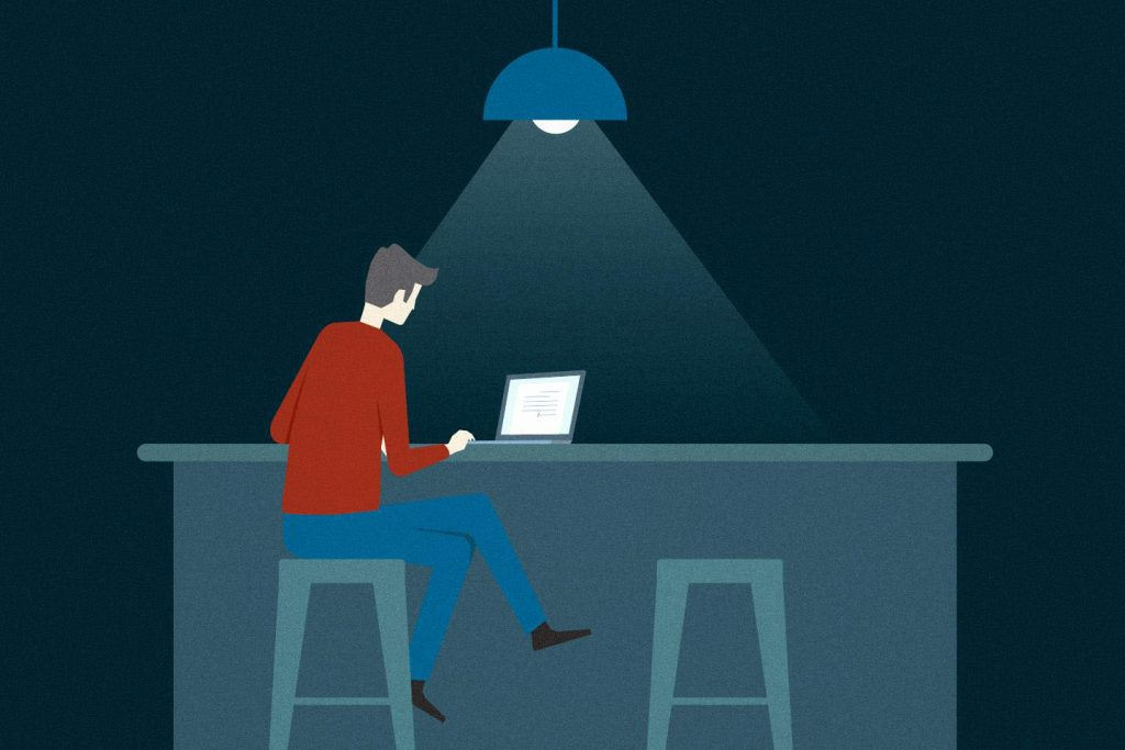 cartoon of a person working alone on a laptop