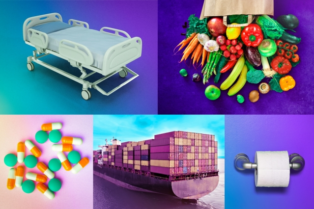 image of hospital bed, fruit, cargo ship, toilet paper, medicine
