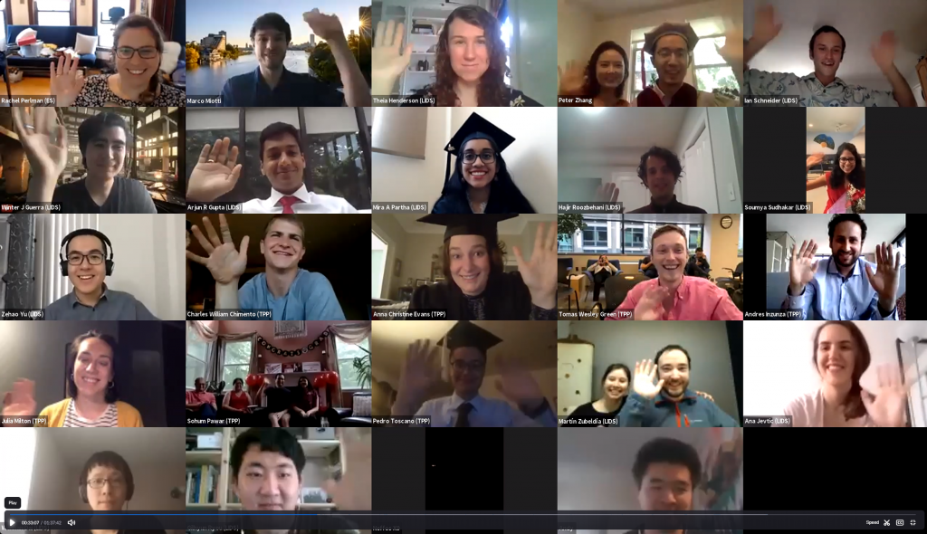 IDSS 2020 graduates waving in a Zoom gallery
