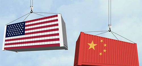 Containers US China flag