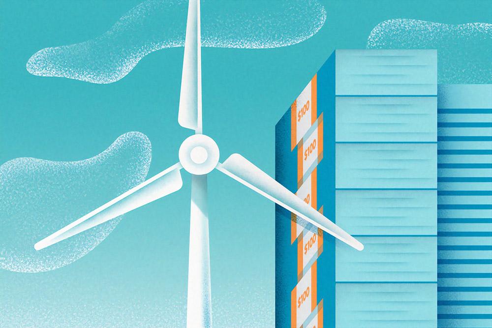 Windmill battery