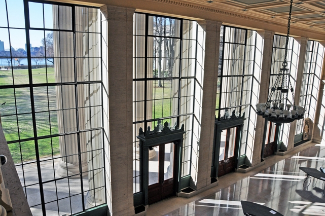 MIT campus lobby 10 windows looking out onto the Killian Court