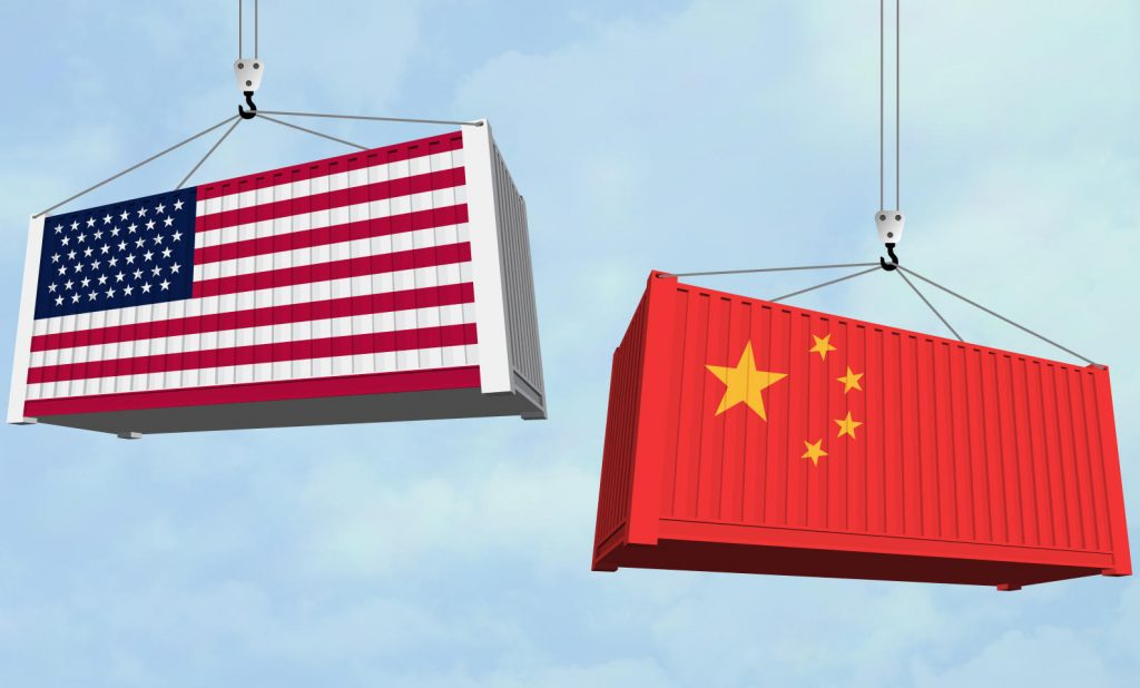 cargo containers with US and China flags