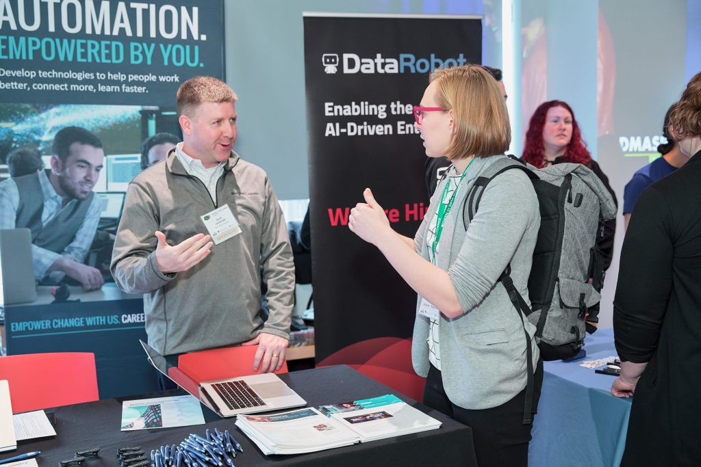 Scott Jachimski shares opportunities at BAH during the Women in Data Science Conference in Cambridge