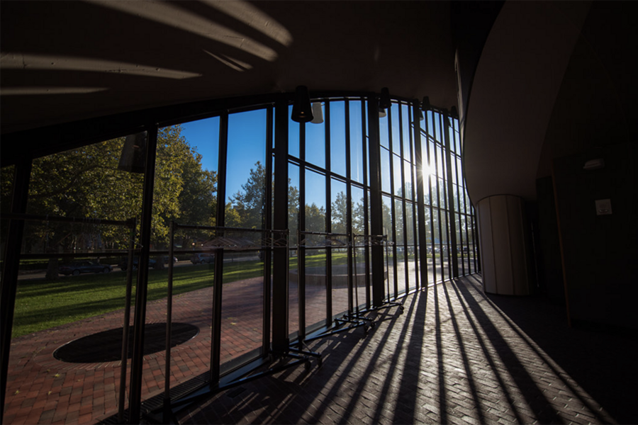Sun shining through an empty MIT Kresge Auditorium atrium, photo by Gretchen Ertl
