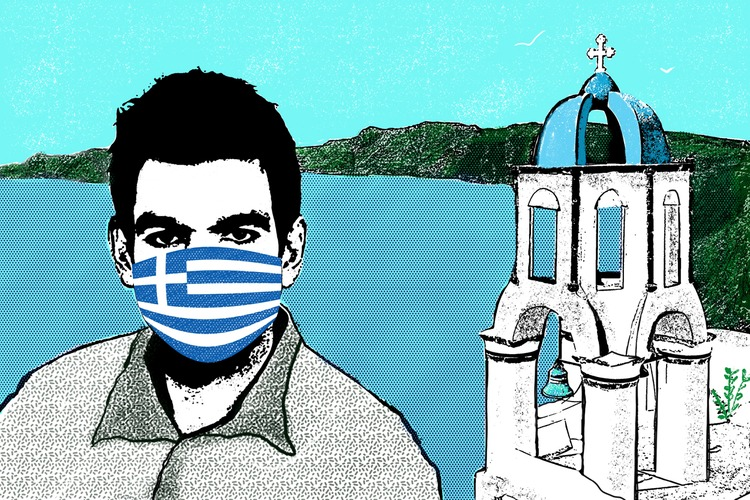 Illustration of Kimon Drakopoulos in mask with Greek flag and Greek building in background