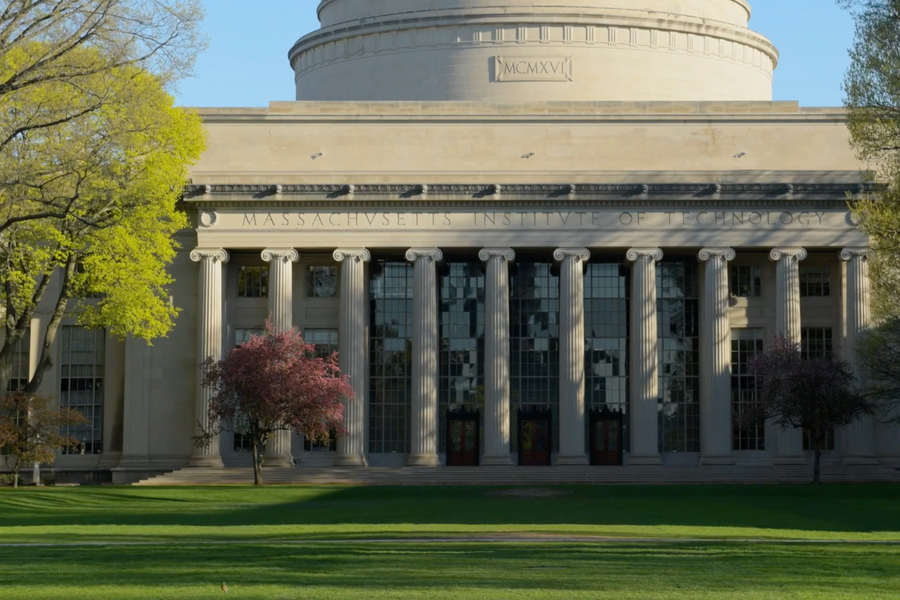 a view from the courtyard of the MIT dome