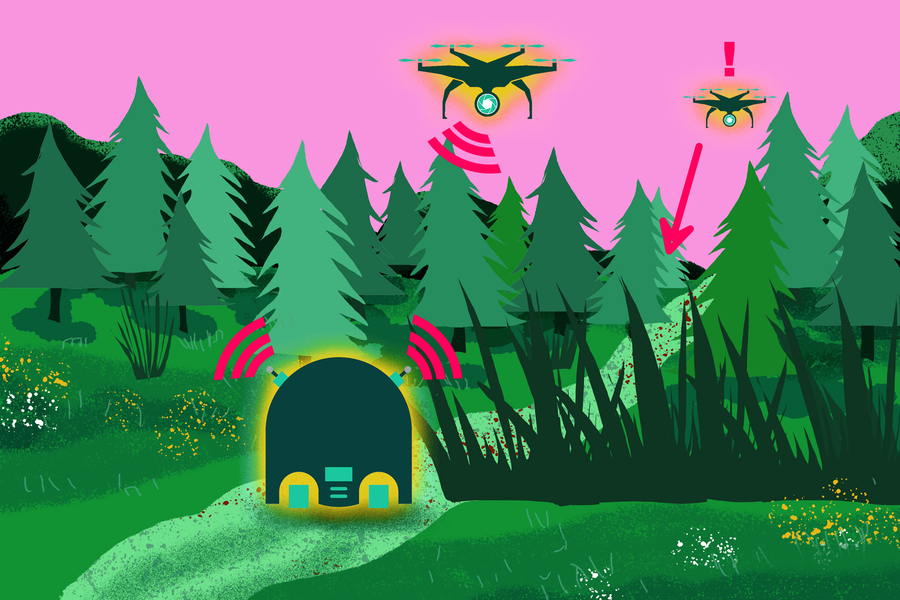 clip art of several drones in a forest setting communicating wirelessly with each other