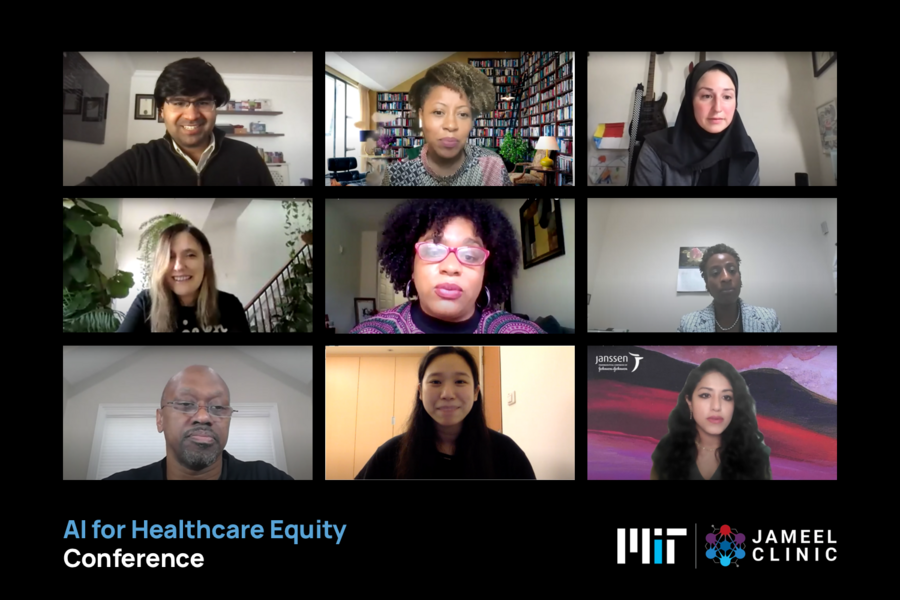 a panel of speakers for the AI for Health Care Equity Conference