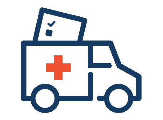 illustration of an ambulance with a ballot