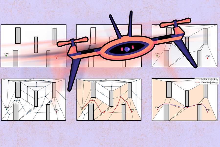graphic art of a drone mapping various pathways